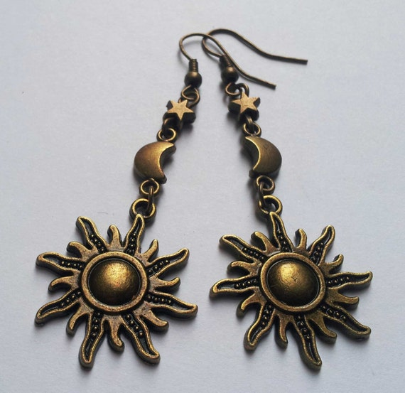 Bronze Moon Star Sun Earrings Bronze Earrings Moon Etsy