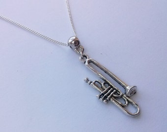 Trombone Necklace , Trumpet Necklace , Silver Necklace , Big Band , Brass Band , Handmade Jewelry , Handmade Jewellery , Unisex Gift