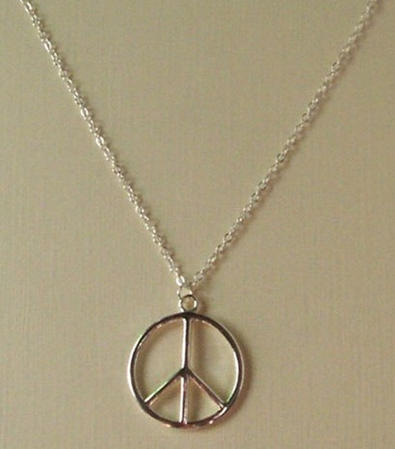 Silver Tone Peace Sign CND Charm Necklace /& Earrings Set New