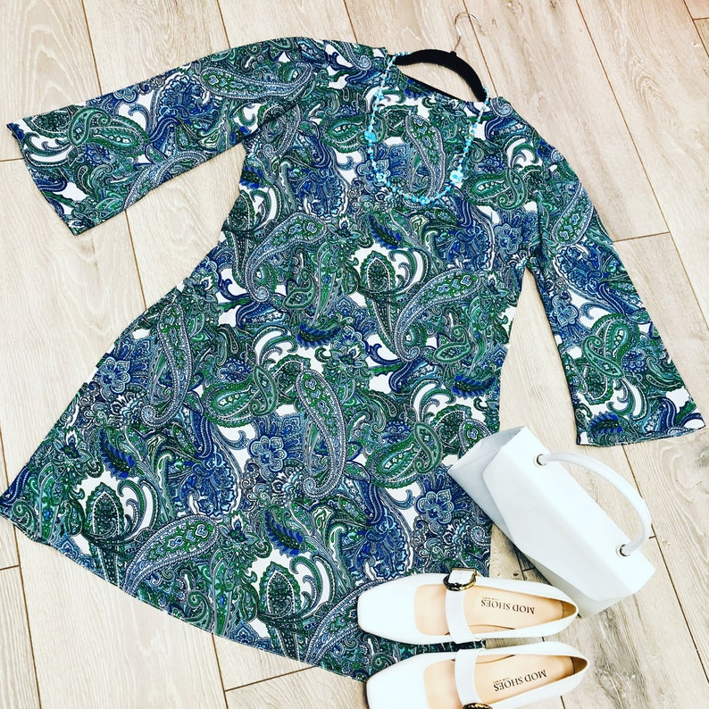 1960s Cocktail, Party, Prom, Evening Dresses Paisley Mod Dress with bell shaped sleeves $89.90 AT vintagedancer.com