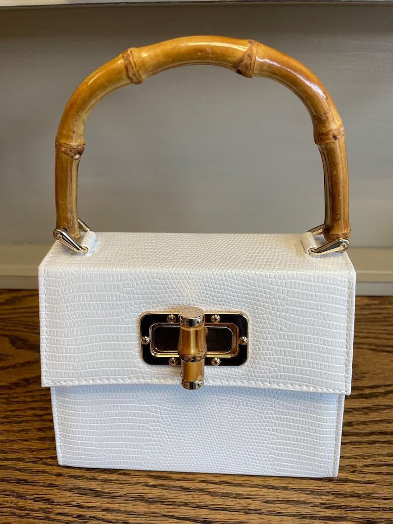 Vintage Handbags, Purses, Bags *New* 1960s Retro Bag Bamboo handle clutch bag purse $50.06 AT vintagedancer.com