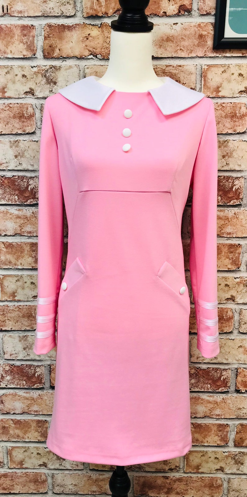 60s Dresses | 1960s Dresses Mod, Mini, Hippie Pink and white 1960s Mod inspired long sleeved Dress $107.34 AT vintagedancer.com