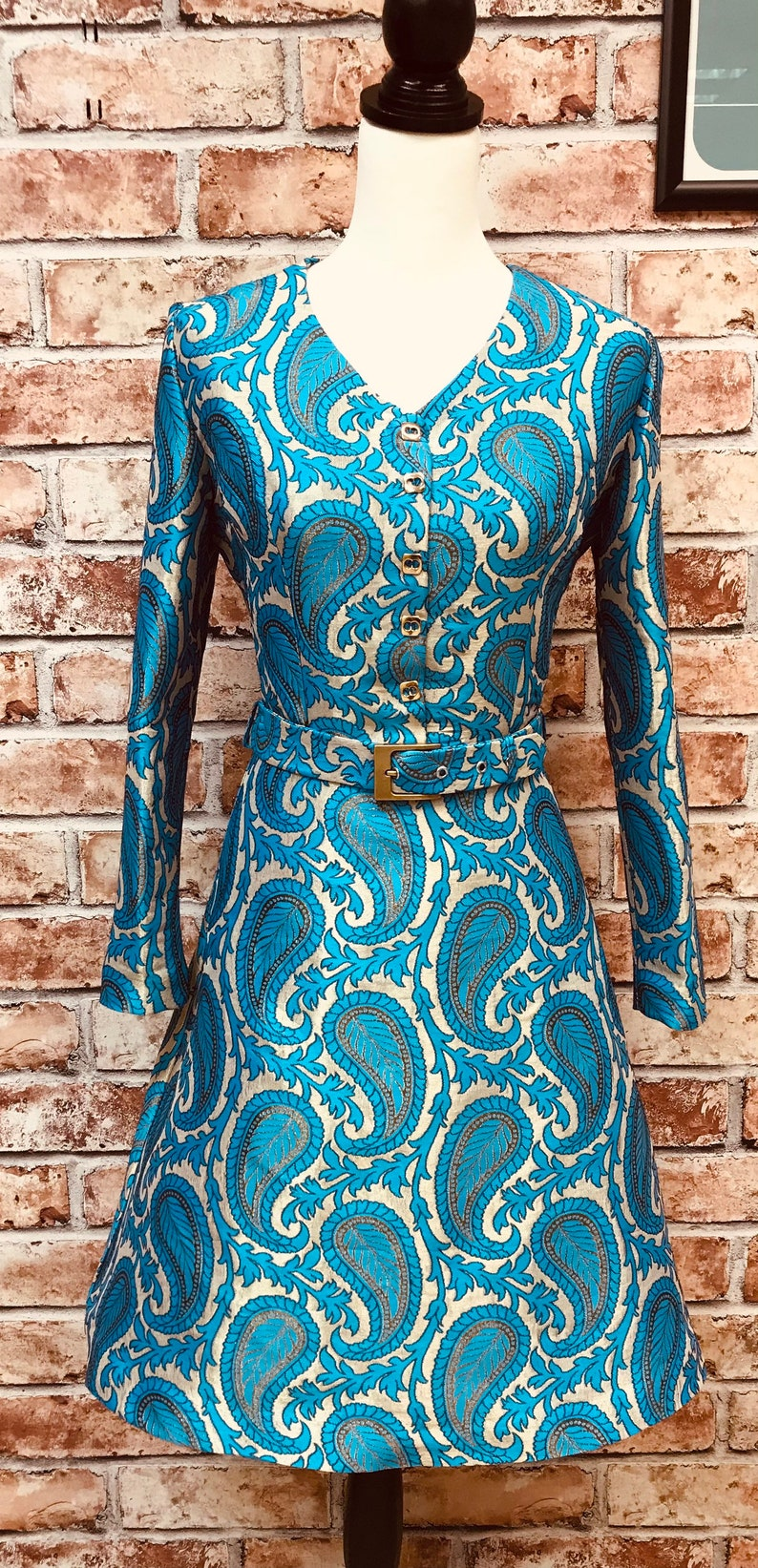 60s Dresses   1960s Dresses Mod, Mini, Hippie Paisley Mod Dress 1960s inspired long sleeve belted $123.58 AT vintagedancer.com