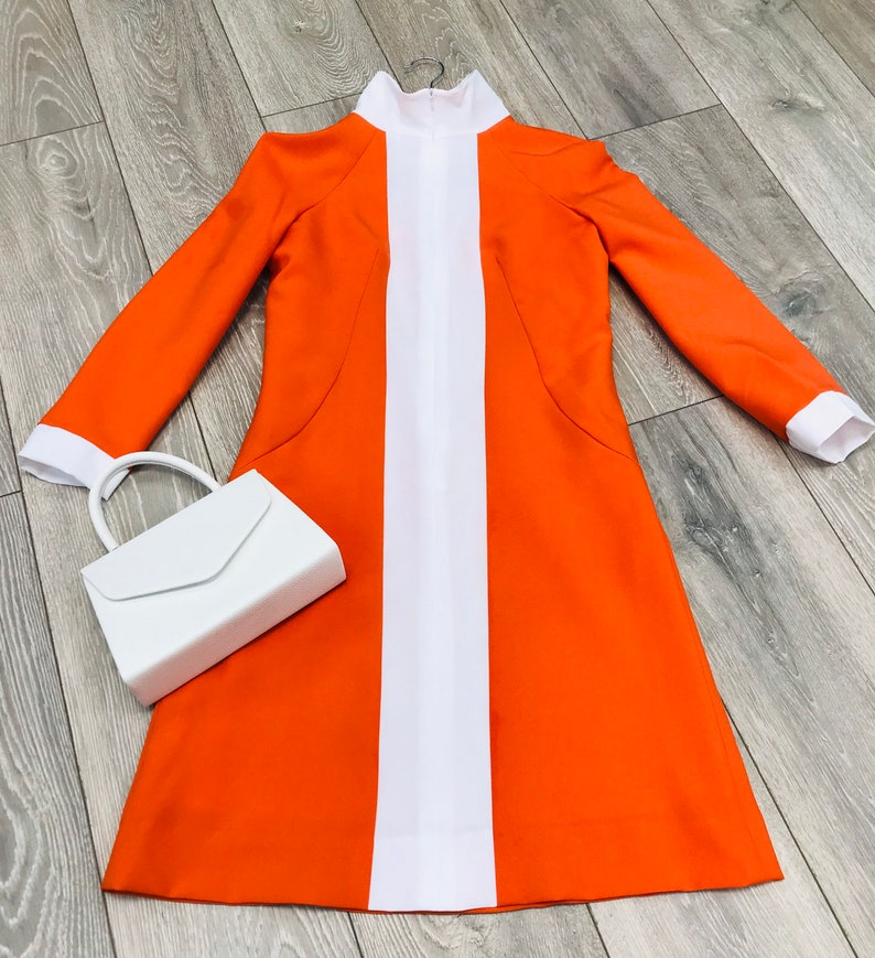 1960s Style Clothing & 60s Fashion 1960s Mod Dress Retro inspired orange and white long sleeves Turtle neck $89.90 AT vintagedancer.com
