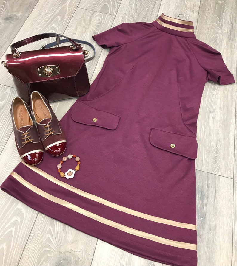 60s Fancy Dress and Quality Clothing 1960s UK 1960s inspired Mod Dress Aubergine and gold $93.03 AT vintagedancer.com