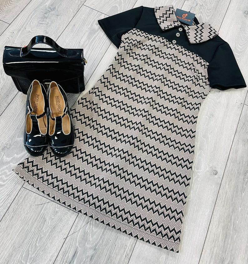 60s Dresses   1960s Dresses Mod, Mini, Hippie 1960s Mod Dress vintage inspired zig zag $109.04 AT vintagedancer.com