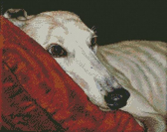 Cross Stitch Chart Kit Esmay the Greyhound