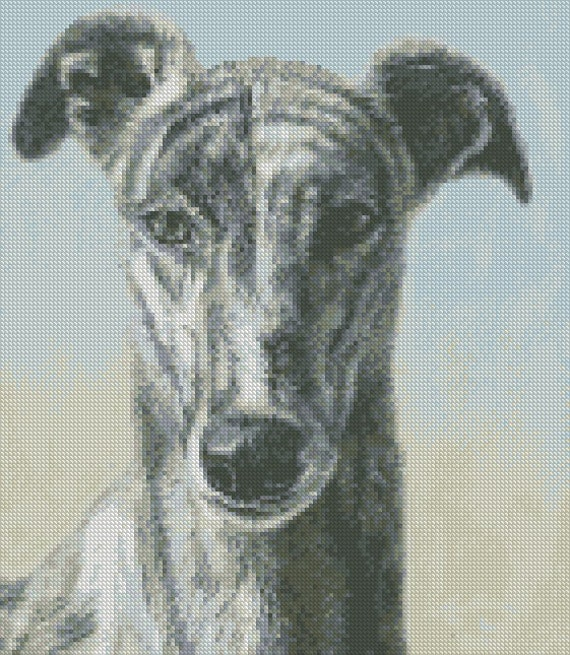 GREYHOUND dog complete counted cross stitch sewing kit