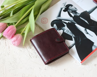 Leather women's purse color of marsala Money wallet Credit card wallets for women gift to mom gift for wife