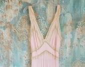 Pink Nightgown Vintage Bridal Trousseau 1970s Pale Pink Ivory Lace Nightgown Vintage Night Gown Pink Lace Nightie Vintage Romantic Sleepwear