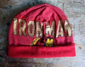 Iron Man Slouchy Hat Upcycled Hat Beanie Baggy Hat Slouch Beanie Hipster Beanie Oversized Beanie Slouchy Beanie Boho Beanie Knit Slouchy