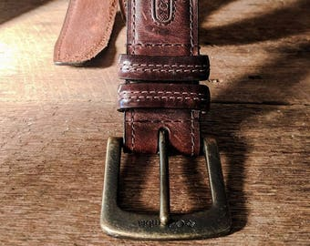 Columbia Leather Belt Distressed Belt Vintage Accessories Hipster Brass Buckle Patina Provocative Fashion Accessory Country Man Barn Belt