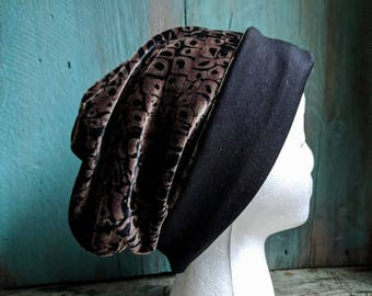 Velvet Slouchy Hat Upcycled Hat Beanie Baggy Hat Slouch Beanie Hipster Beanie Oversized Beanie Slouchy Beanie Boho Beanie Knit Slouchy Hat