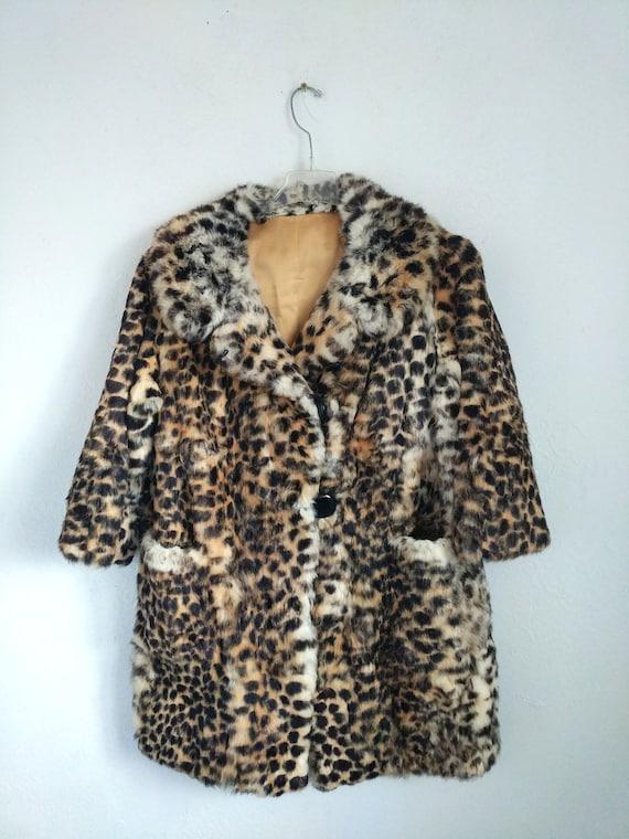 Fur Coat, Leopard print rabbit fur jacket - image 3