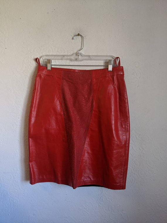 Red Leather skirt 90s, Vintage leather skirt, Obse