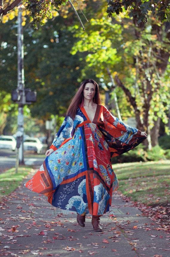 La Vetta Schal Kleid 70er Jahre Entwerfer Beverly Hills Nieman