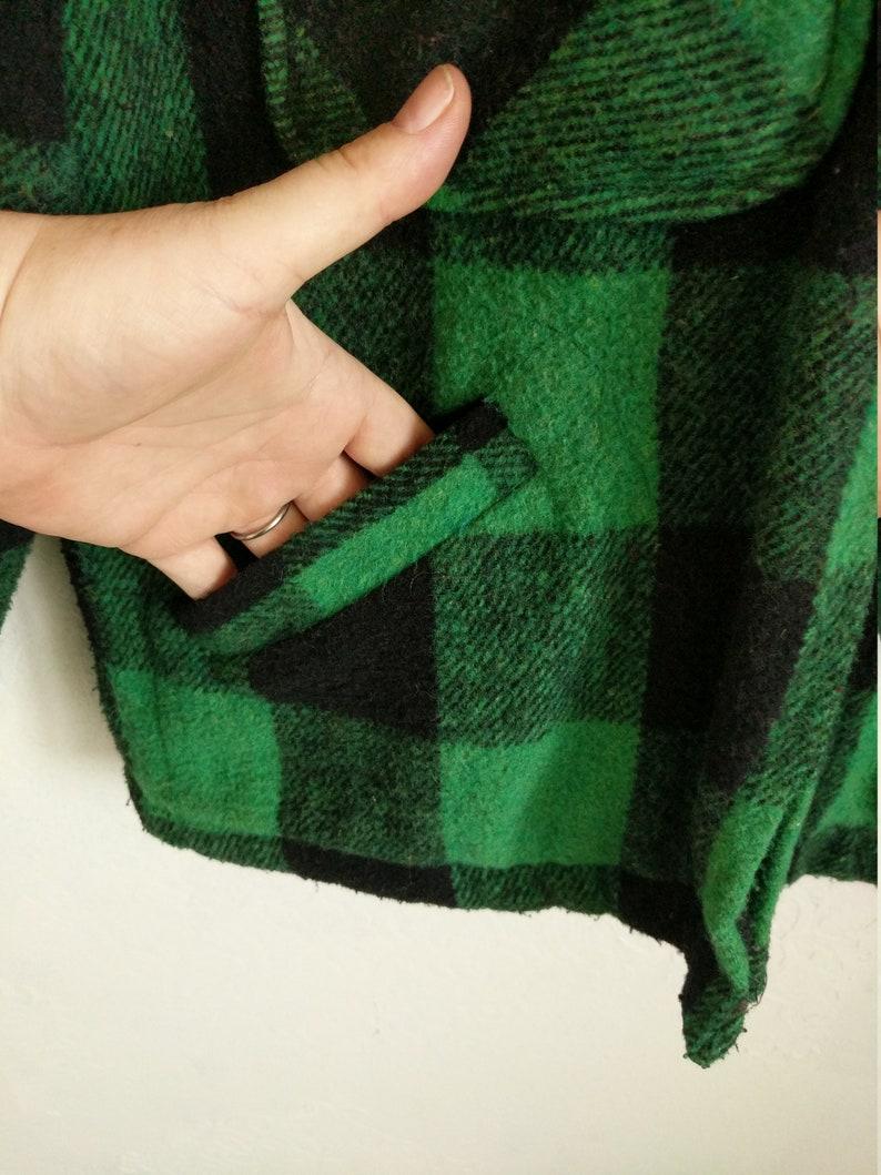 barn coat Vintage 1960/'s Green Buffalo Plaid Jacket Big Mikes Union Made Size Large Field Cruiser