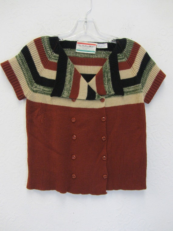 1970's women's sweater, Vintage button up sweater,