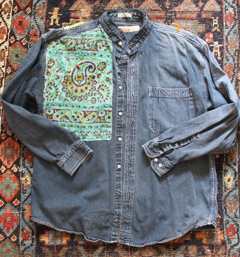 35f0238bab1 Applique Denim Shirt Embroidered shirt patch ethnic
