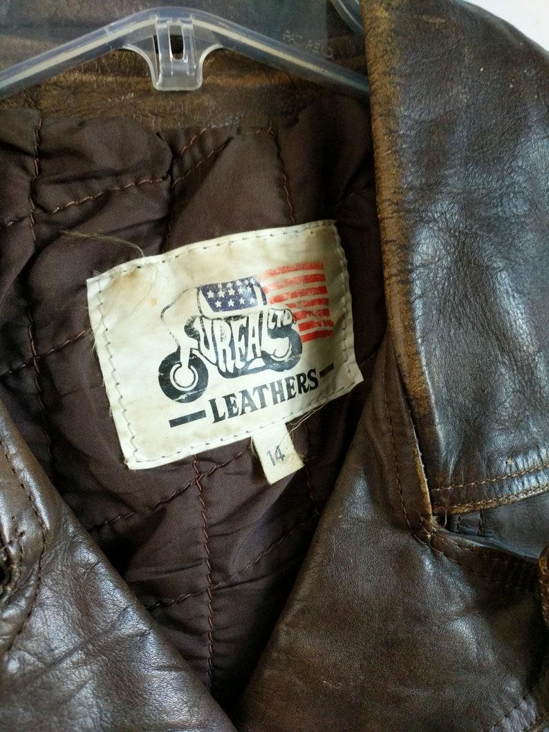 Fureal Moto Lederjacke Fransen Leder Mantel Vintage selten südwestlichen Fransen Biker Jacke Größe 14