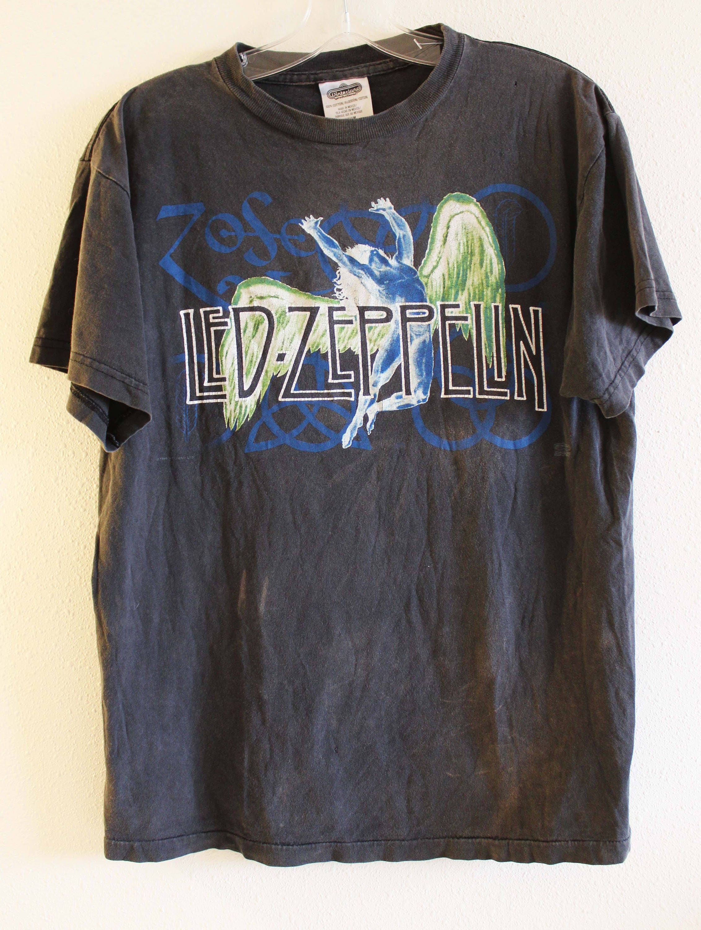 Vintage Led Zeppelin T-shirt - 1995 Led Zeppelin Zoso Swan Song Black T-shirt - 90s Led Zeppelin Tour T-shirt - Rock tee - Band T-shirt dRoTj