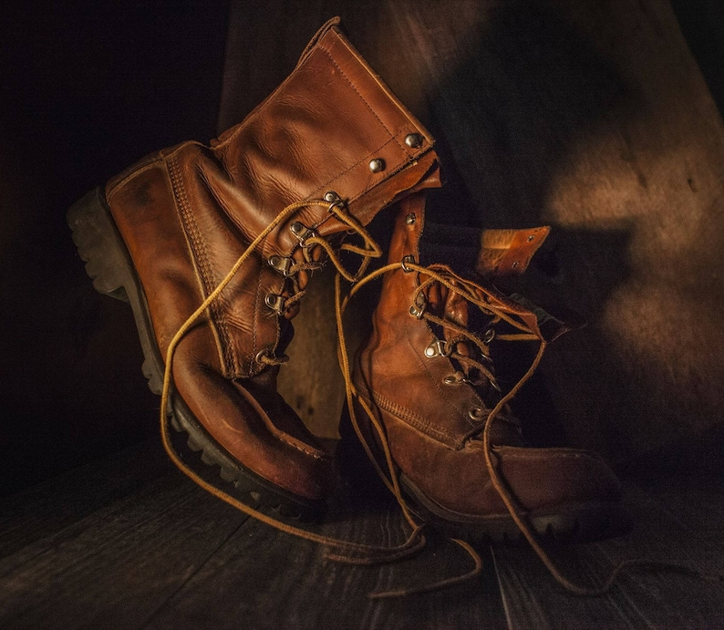 d1bc654acf3 Red Wing Boots Leather Irish Setter Boots Rare Design Thick Leather Cognac  Patina Hiking Work Hipster Wear Pacific Northwest Made in The USA