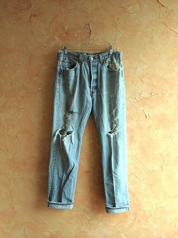 Levi's Distressed 501 Jeans 90's Classic Road 501 Levi Inner Salvaged Boho Thrashed Country Rustic Jeans Grunge Boyfriend City 0twqx4xd
