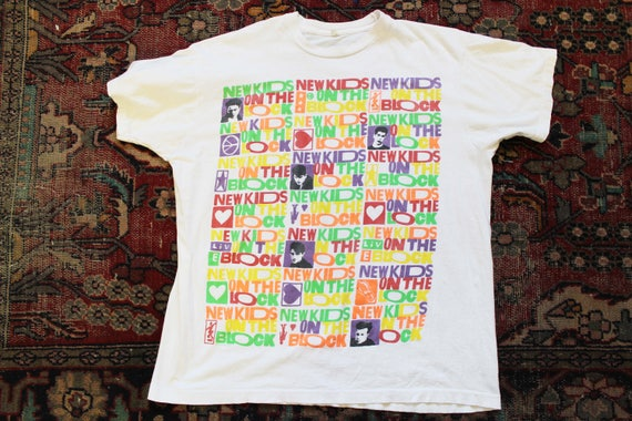 New The Funky Block 1990 bright XXXL Stars On Bunch Teen idol t Neon Screen Wahlberg 80's Kids Large Mark White NKOTB VTG shirt Tee Cotton rxgqfrw