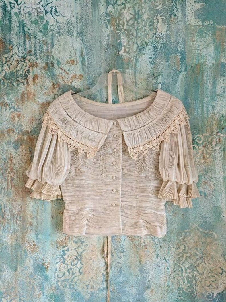 Formal Blouse Vintage Gala Lace Sybil Connolly Pleated Handkerchief Traditional Irish Fine Lace Fabric Textiles Hand Shirred Midcentury SM