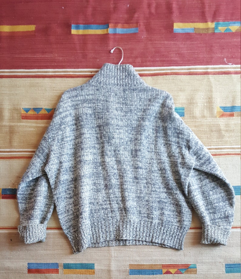 Gray Sportsman Pullover Sweater Cardigan Sweater Wool Mohair Rustic Warm Hand Knit Vintage Super Warm Holiday Gift