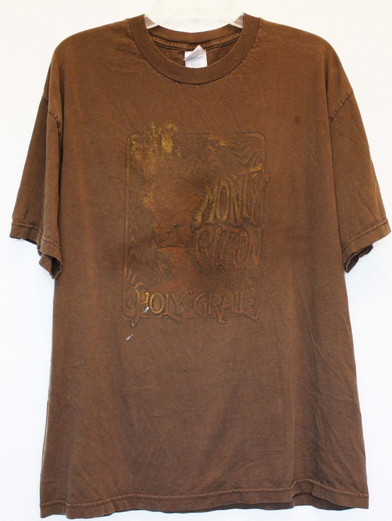 brown worn thrashed cotton Grail distressed 90s faded t Holy thin shirt 80s Monty classic Python XL vintage wxXvv8q
