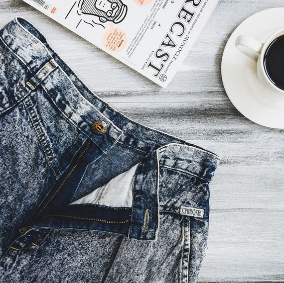 Vintage Jeans, Cinched waist jeans / 80s Pleated m