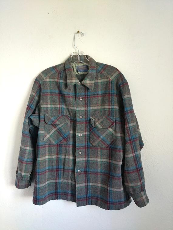 Men's Pendleton Shirt, Vintage Wool Plaid shirt Ja