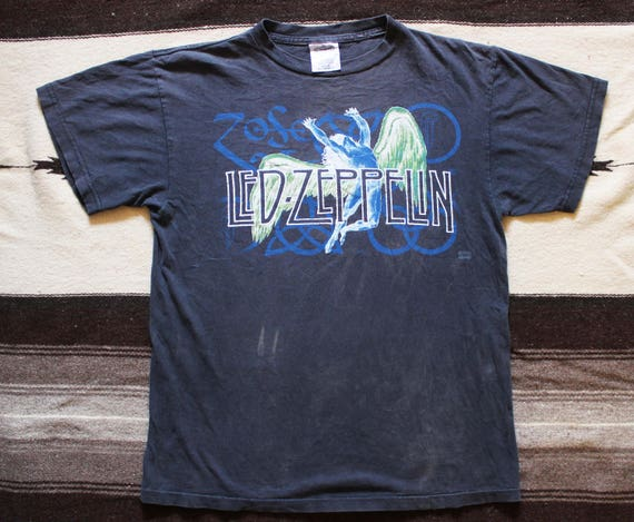 1995 Vintage Swan rock Zoso shirt faded Fallen 90's distressed Led band Song t Icarus shirt Angel black Zeppelin rCwSrqX
