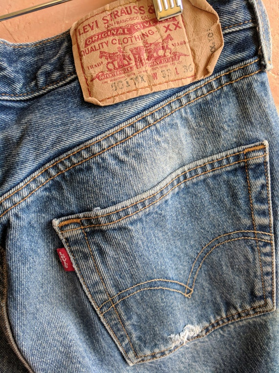 Boyfriend Jeans Country Levi's Distressed Classic Inner 501 City Road Grunge Rustic Boho Salvaged 90's 33x36 Thrashed Jeans 501 Levi IYwTq5