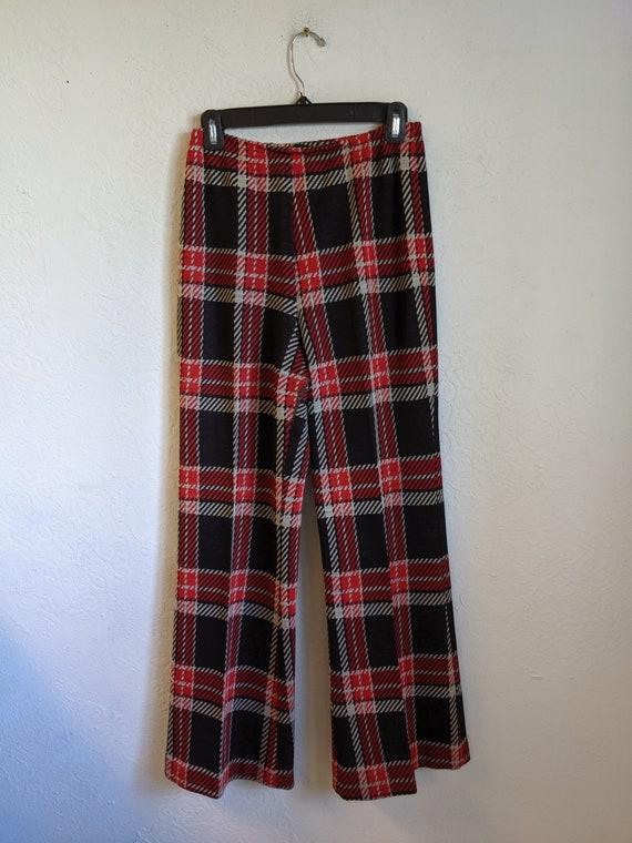 Plaid Pants, 70s Double Knit Polyester Pants, Plai