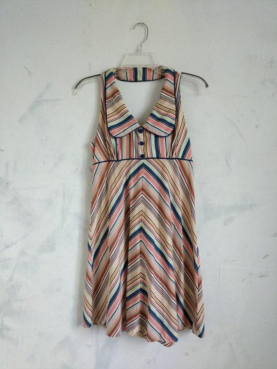 Party Salmon Yard Striped Blue Summer Dress Stripe Throw Back Backless Pattern Collar Neck Vintage Retro Zip Dress Up zwBqHFFTx