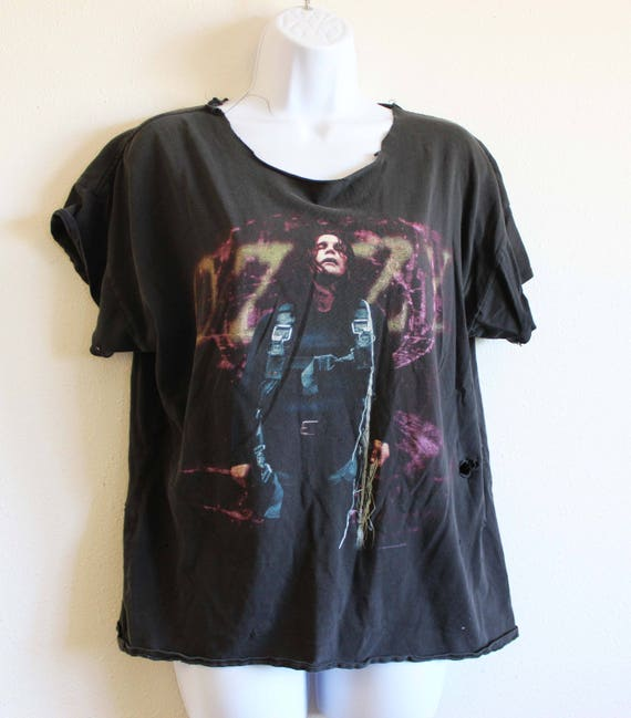 Super Distressed Men's Concert Ultimate Thrashed Osbourne shirt 90's Shirt L Faded Ozzy Vintage Tee Tour Rare Collectible Shirt Fan T Black H0f0rw8gq