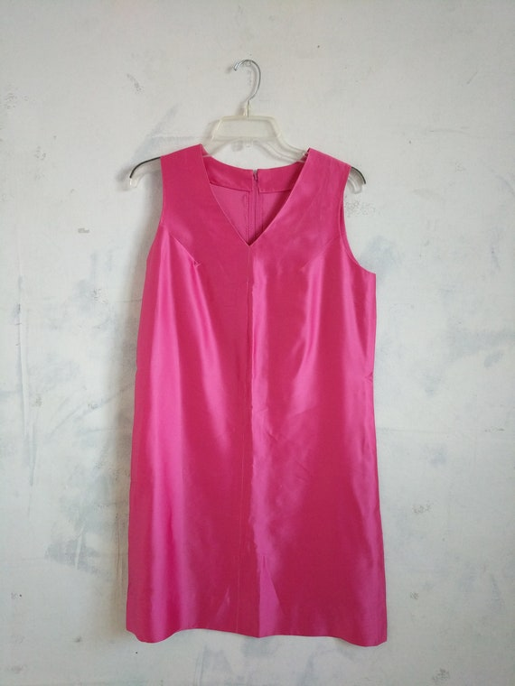 Dress Vintage 1960s~ Cocktail mini Hot Pink Silk,