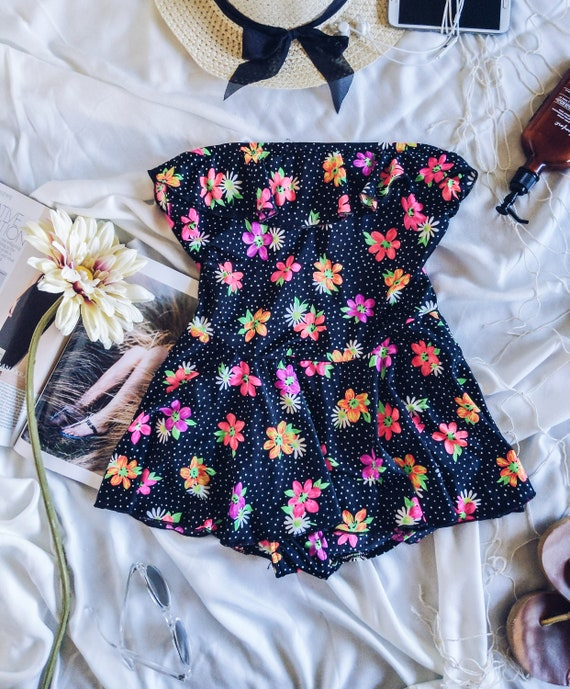 Floral bathing suit, swimsuit with flowers, Vintag