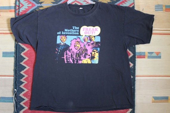 black The shirt t of FREAK XXL Rock cotton Invention Frank big Trip Anvil vintage OUT bright Technicolor Mothers Zappa Prog Psychedelic Funk pqxrzIwWp