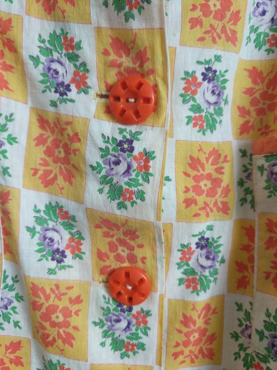 70s Orange Cotton Back Vintage Garden Floral Dress Summer Thin Dress Button Buttons Party Striped Flower Dress Throw Dress Vintage BF85pqwn