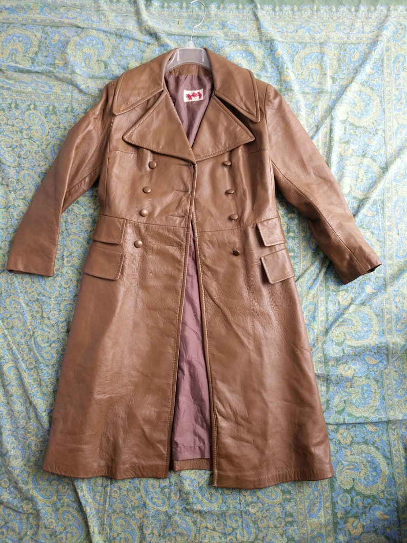 0c33fbd82 Brown leather jacket, Knee length leather trench coat, 70s Brown Leather  Jacket, Canada leather