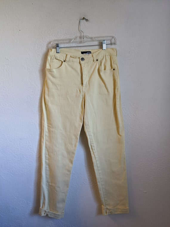 Vintage jeans, light yellow jeans, High Rise High-