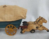 Old Vintage Cast Iron Horse Drawn Covered Wagon Carriage Toy