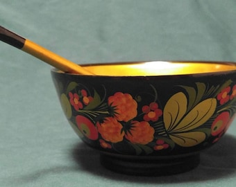 Old vintage hand painted wooden Khokhloma Russian bowl and spoon berry pattern USSR