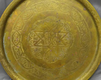 Old vintage hand tooled engraved brass tray Moroccan Middle Eastern design