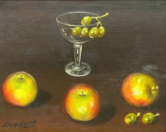 Old vintage artist signed original still life oil painting glass with fruit Duprett