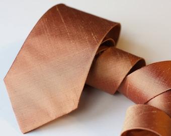 Copper Neck Tie, Raw Silk Ties, Metallic Tie, Copper Wedding Neck Ties, Dark Rose Gold Tie, Groomsmen Ties, Copper Wedding