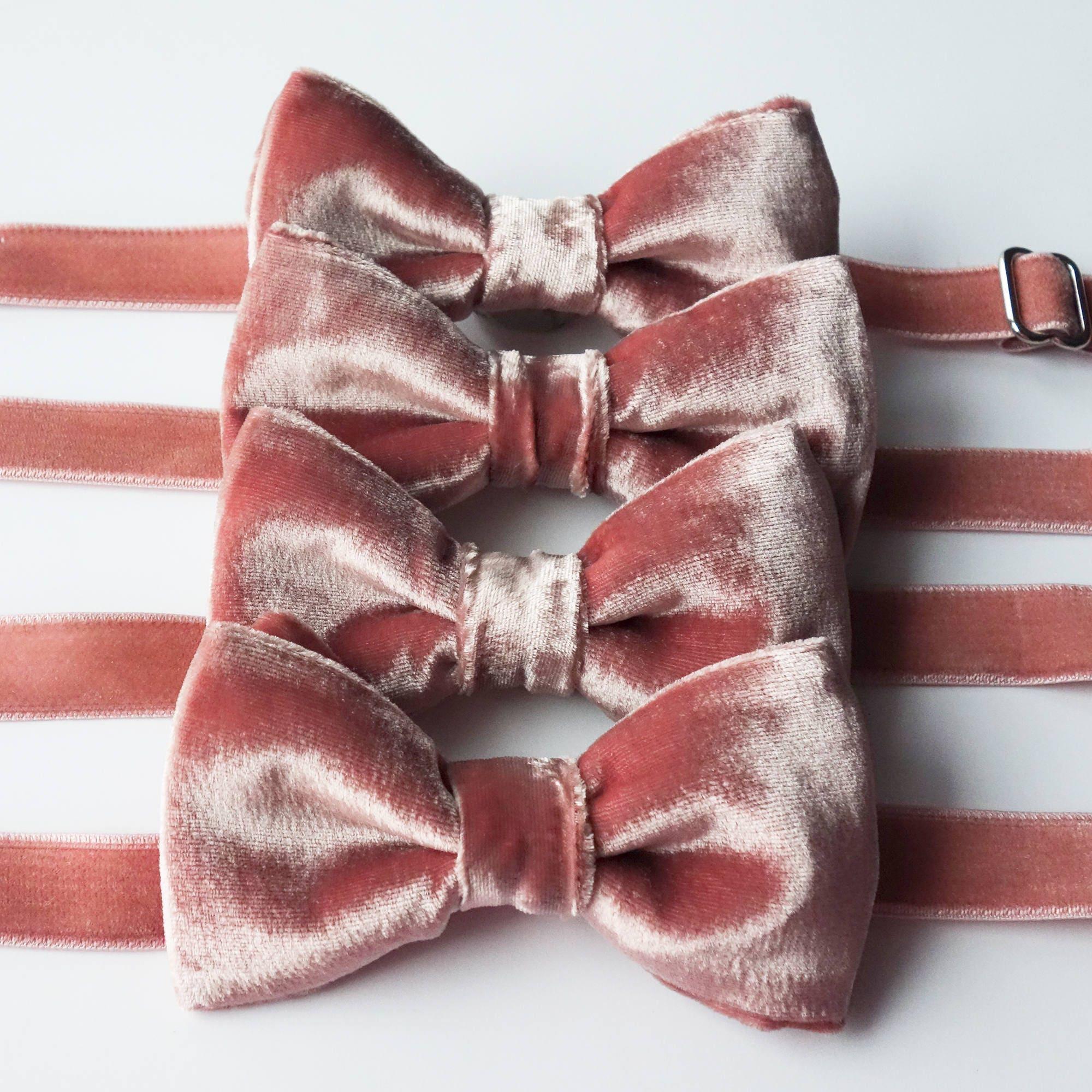Blush Velvet Silk Bow Tie Dusty Pink Dusty Rose Rose   Etsy